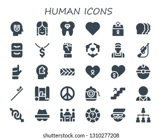 human icon set. 30 filled human icons.  Collection Of - Influence, Girl, Tooth, Heart, Donation, Heads, Eyelash, Dollar, Hand, Friendship, Clerk, Hunting, Head, Plait, Cancer