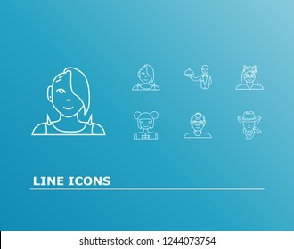 Human icon set and asian girl with cat girl, punk girl and old man. Chinese woman related human icon vector for web UI logo design.