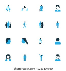 Human icons colored set with greybeard, man, businesswoman and other clever elements. Isolated vector illustration human icons.