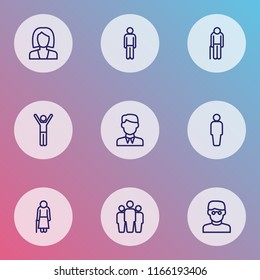 Human icons line style set with oldster, businesswoman, human and other business elements. Isolated vector illustration human icons.
