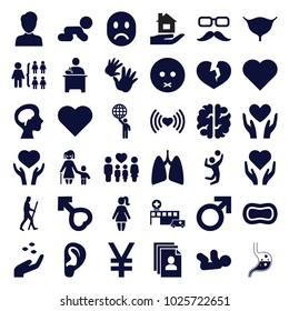 Human icons. set of 36 editable filled human icons such as hand with seeds, baby, male, structure, heart, sad emot, hand with heart, crawling baby, family, human brain, lungs