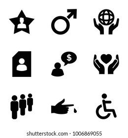 Human icons. set of 9 editable filled human icons such as resume, disabled, holding globe, hands holding heart, group, injured finger, favorite user, man thinking about money