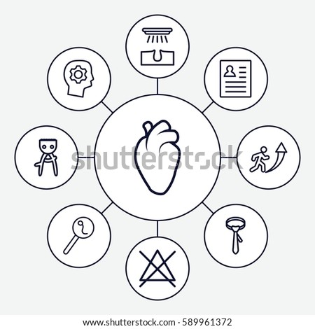 human icons set set 9 human stock vector royalty free 589961372 Resume School Project set of 9 human outline icons such as hair removal no bleaching tie heart an search sperm resume man going up vector