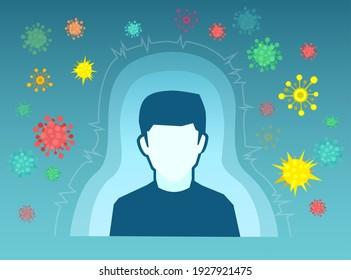 Konzept des menschlichen Immunsystems. Vektorgrafik eines Menschen mit Immunität und Antikörper gegen Mikroben und Viren