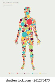 Human infographics made of circles. Flat design. Vector illustration