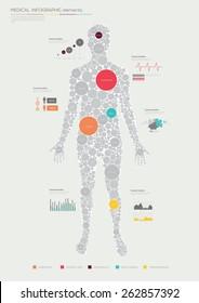 Human infographics made of circles. Flat design. Vector illustration