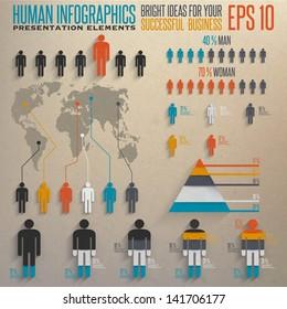 Human infographics.Retro infographics set.