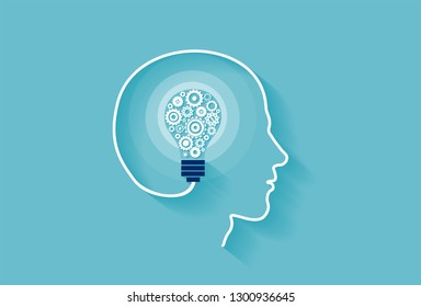 Human intelligence concept. Vector of a human head with idea light bulb inside made of gear mechanisms