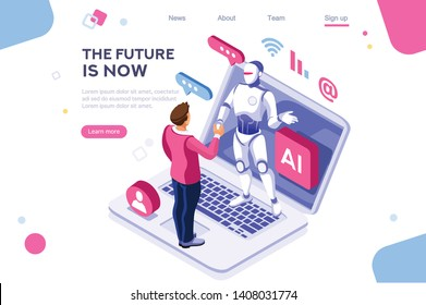 Human interactive tech interaction. Images of robot human working at office, can use for web banner, infographics, hero images. Flat isometric vector illustration isolated on white background