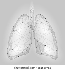 Human Internal Organ Lungs. Low Poly technology design. White Gray color polygonal triangle connected dots. Health medicine icon background vector illustration