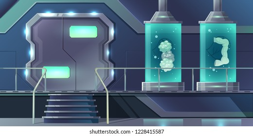 Human internal organs cloning cartoon vector concept. Pancreatic, thyroid glands, intestines or digestive system part growing in laboratory illustration. Future technologies of organs transplantation