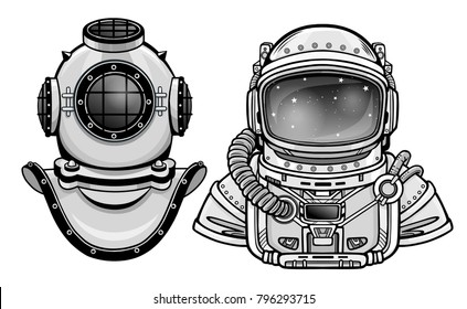 Human inventions: ancient diving helmet, astronaut's suit. Past and future. Depth science. Vector illustration isolated on a white background.