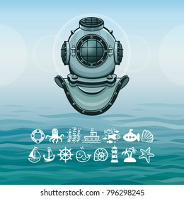 Human inventions: ancient diving helmet. Depth science. Set of sea icons. Background - ocean waves, the sky. Vector illustration.