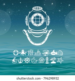 Human inventions: ancient diving helmet. Depth science. Set of sea icons. Background - ocean waves, the night star sky. Vector illustration.