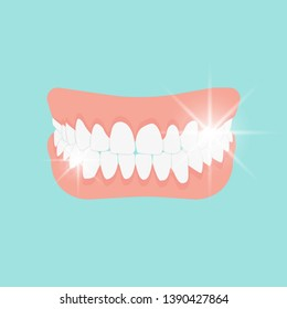 Human jaw. Mouth cavity close to natural. White teeth, upper and lower jaws. The perfect oral cavity. Teeth. Dentist concept. Dentistry medicine. Isolated image on blue background. Flat style. Vector