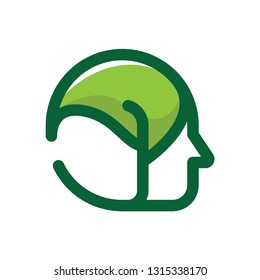 Human with leaf head logo template