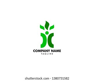 Human Leaf Logo Template