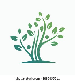 human with leaf vector illustration template