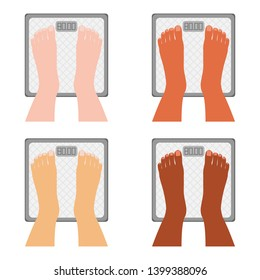 Human legs are on scales. Feet on scales. Set weight check of different nationalities, different skin color. Health care, weight problems, obesity, diabetes, sport, fitness and beauty for advertising