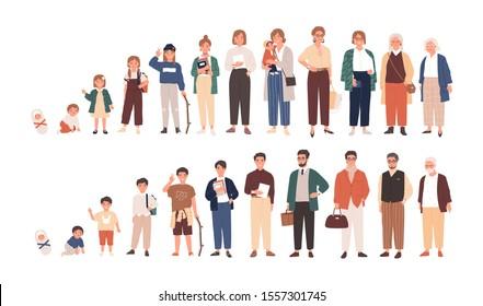 人間のライフサイクルのベクターイラスト。男女が成長し老化する。異なる年齢の男性と女性が漫画のキャラクターを描く。白い背景に子ども、大人、お年寄り。