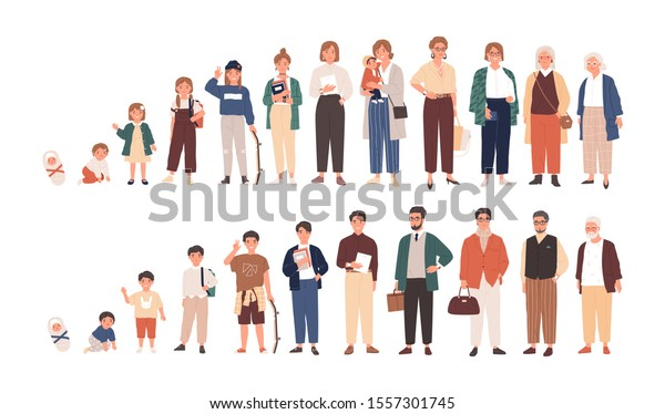 Human life cycles vector illustration. Male and female growing up and aging. Men and women of different ages cartoon characters. Children, adult and old people isolated on white background.