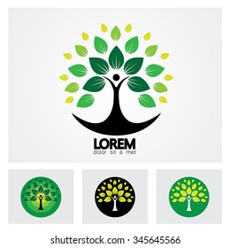 human life logo icon of abstract people tree vector set. this design represents eco friendly green, family tree, signs and symbols.