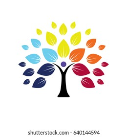 human life logo icon of abstract people tree vector. this design represents eco friendly green, family tree, signs and symbols.