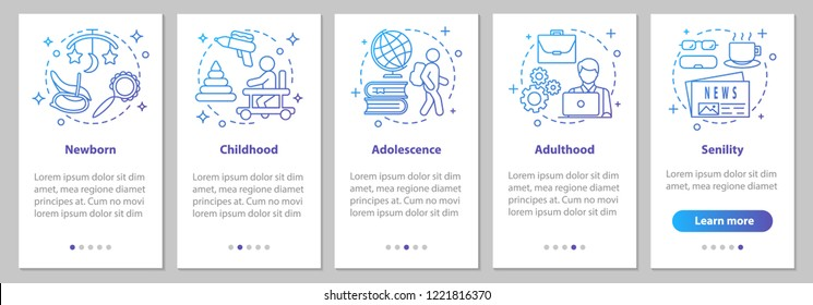 Human lifecycle onboarding mobile app page screen with linear concepts. Newborn, childhood, adolescence, adulthood, senility steps graphic instructions. UX, UI, GUI vector template with illustrations