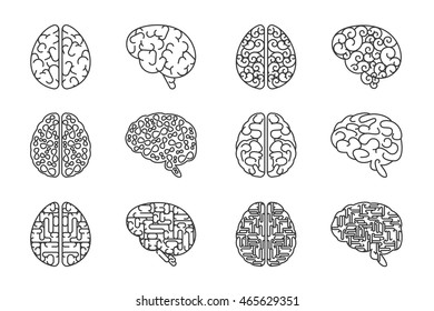 Human line brains icons. Vector outline brain intellect signs