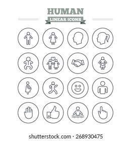Human linear icons set. Male and female symbols. Infant toddler and pregnant woman. Happy smile face. Success deal handshake. Thin outline signs. Flat vector