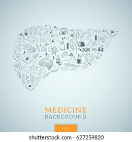 Human liver shape. Vector background for medical topic.