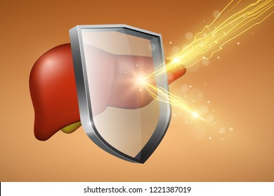 Human liver under protection, glass shield with glowing effect, health protection concept, vector illustration