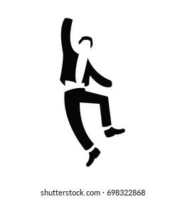 human logo, jump icon, character people
