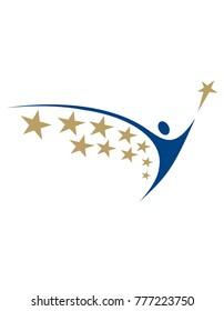 Human logo with star