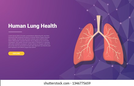 human lung template banner design with free space for text - vector