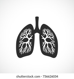 Human lungs anatomy vector icon illustration isolated on white background