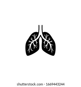 Human lungs black isolated vector icon. Lung, bronchi, human organ illustration.