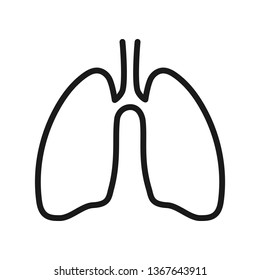 Human lungs. Icon of human lungs in outline style over white background. Vector illustration