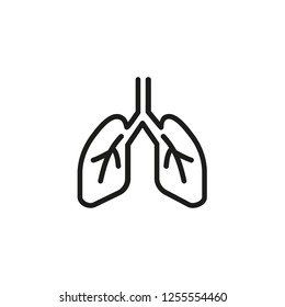 Human lungs line icon. Breath, bronchi, trachea. Medicine concept. Can be used for topics like health care, breath, respiratory, anatomy, disease