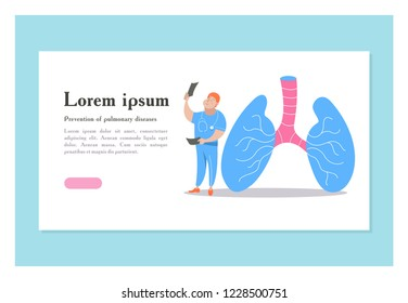 Human lungs. Miniature doctors study and treat large human lungs. Vector concept of medical pulmonological care.