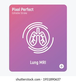 Human lungs MRI scan thin line icon. Medical equipment for oncology detection. Pixel perfect, editable stroke. Vector illustration.survey.