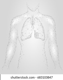 Human Lungs Pulmonary infection Internal Organ. Respiratory system Inside Body Silhouette. Low Poly 3d Connected Dots Triangle Polygonal Design. Gray White Color Background Vector Illustration