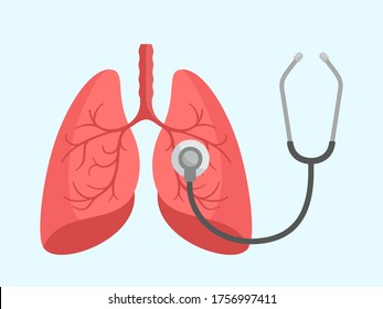 Human lungs and stethoscope. World pneumonia day. Examine and check your lungs. Medical information banner, isolated on white background. Flat design, cartoon style.