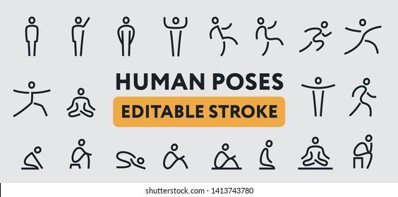 Human Man Body Poses. Line Icons Set. Positions, Yoga, Meditation, Standing, Waving Hand, Walking, Sitting, Running, Jumping, Praying, Stretching. Editable Stroke.