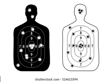 Human man, set shooting range target shot of bullet holes. vector illustration