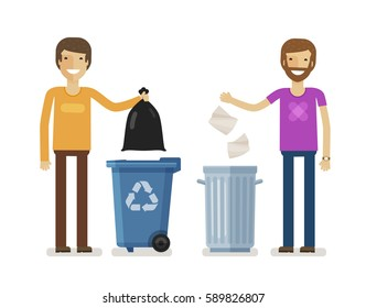 Human, man throws rubbish in garbage bin. Volunteering people, ecology, environment concept. Flat characters vector illustration