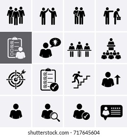 Human Management and Corporate Business Icons. People Group. Vector set