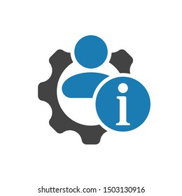 Human management icon with information sign, about, faq, help, hint symbol