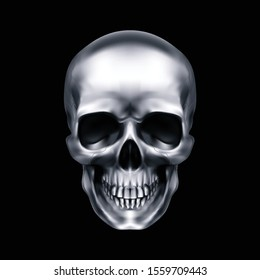 Human Metallic Skull. The Concept of Death, Horror. A Symbol of Spooky Halloween. Isolated Object on a Black Background, Can be Used with any Image