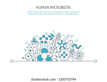 Human microbiota banner. For medical Biology landing page app icons, bacterial flora pathogen, germ, virus microorganisms poster concept microbe Infection elements template. Thin line web symbols flat